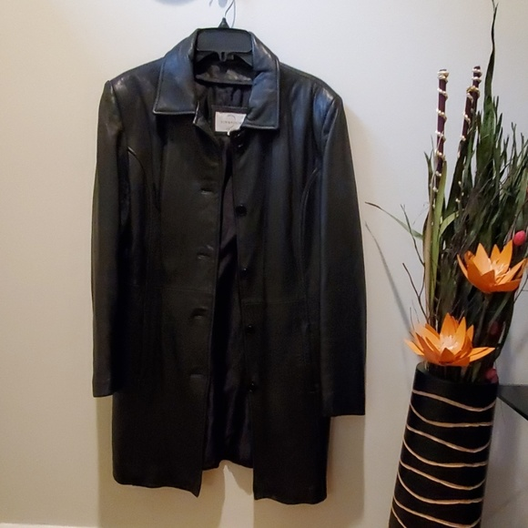 dimension Jackets & Blazers - Long black leather jacket